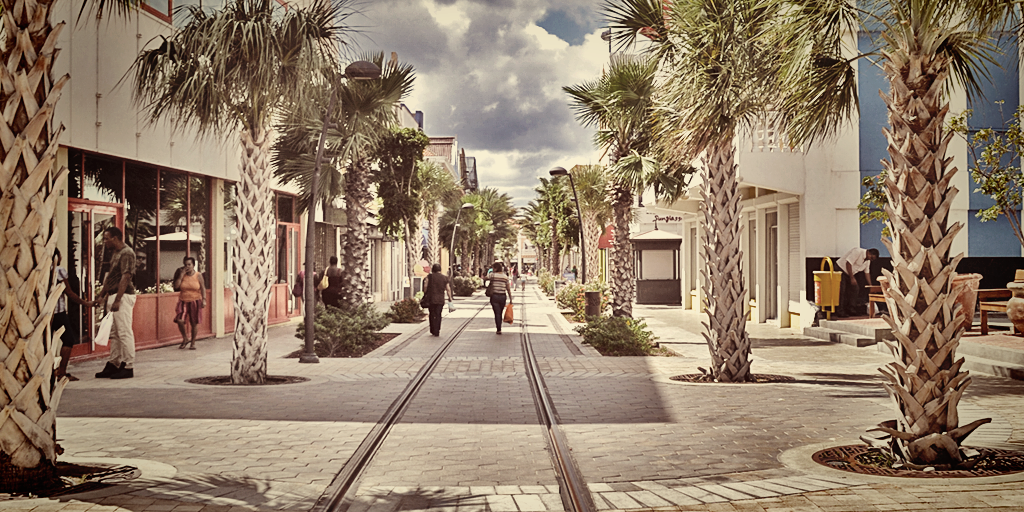 Photo of main street in Aruba