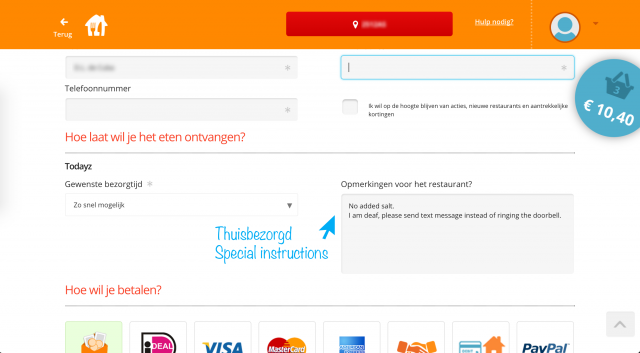 Screenshot of thuisbezorgd order page