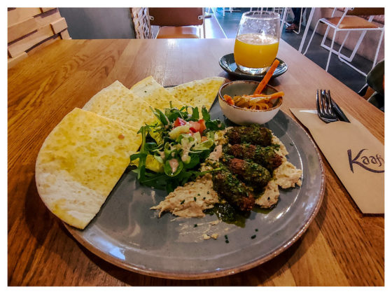 Falafel / Kimchi Pickle / Baba Ghanoush / Chimmichurri / Signature Flatbread / Fresh Salad