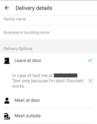 Screenshot of Uber Eats note text field with my nite about being deaf and to text instead of calling.